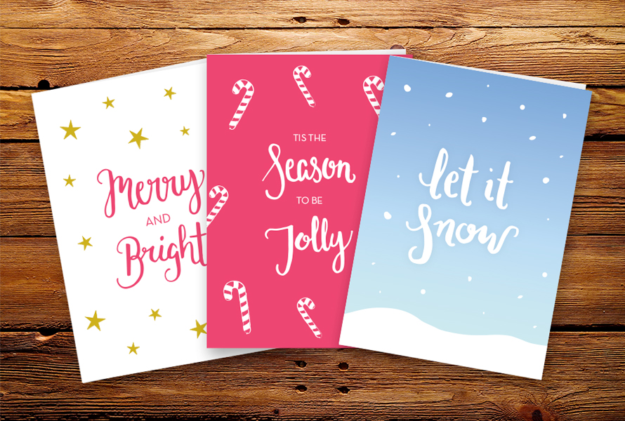 Handlettered Christmas cards